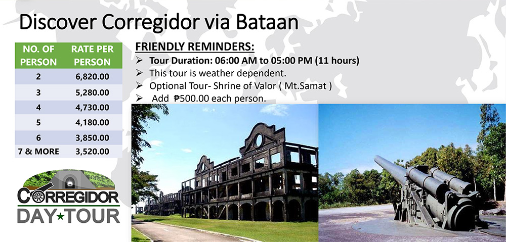 Corregidor Day Tour Rates