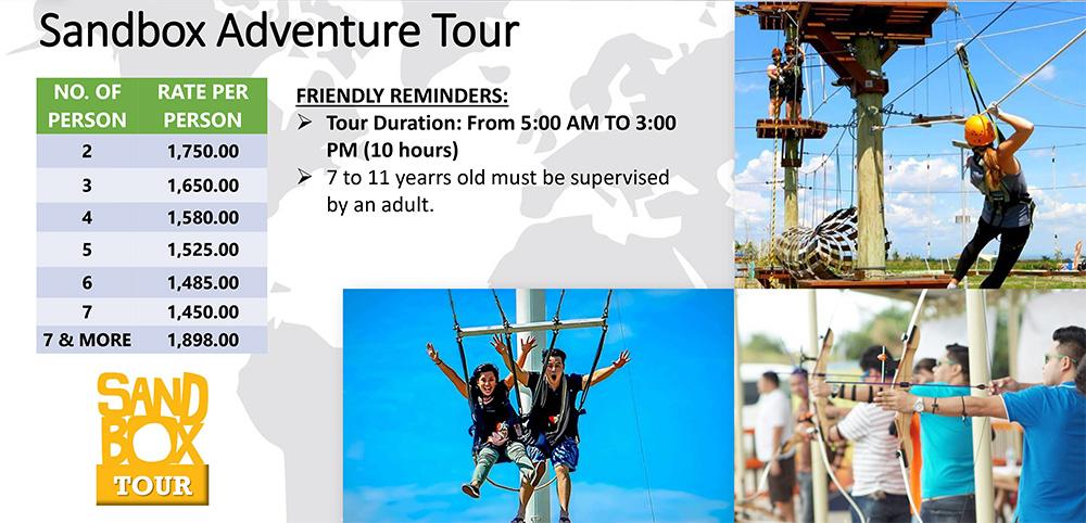 Sandbox Pampanga Tour Rates