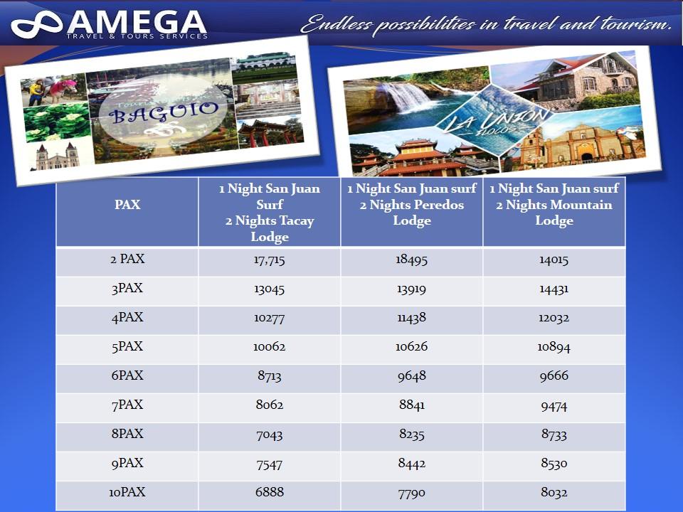 Baguio & La Union Rates