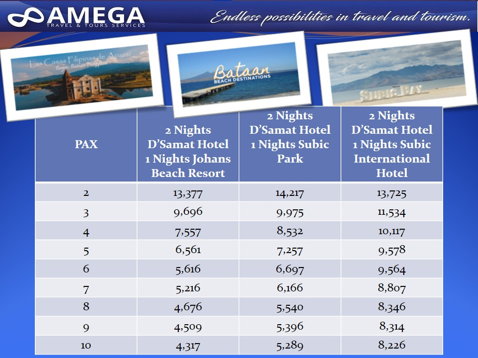 Bataan & Subic Day Tour Rates