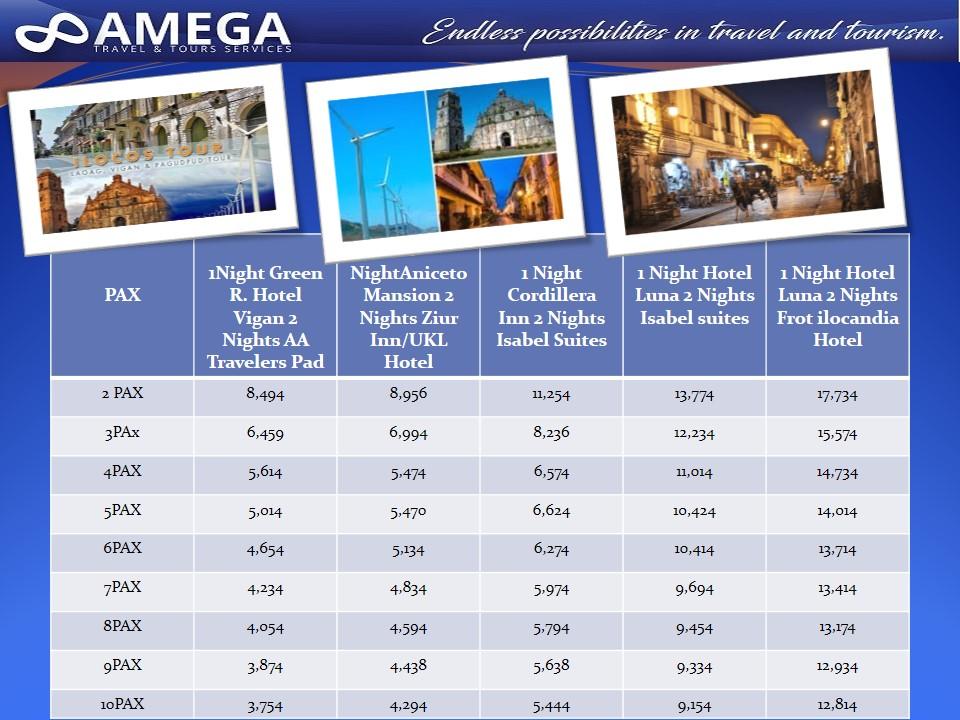 Ilocos Tour Rates