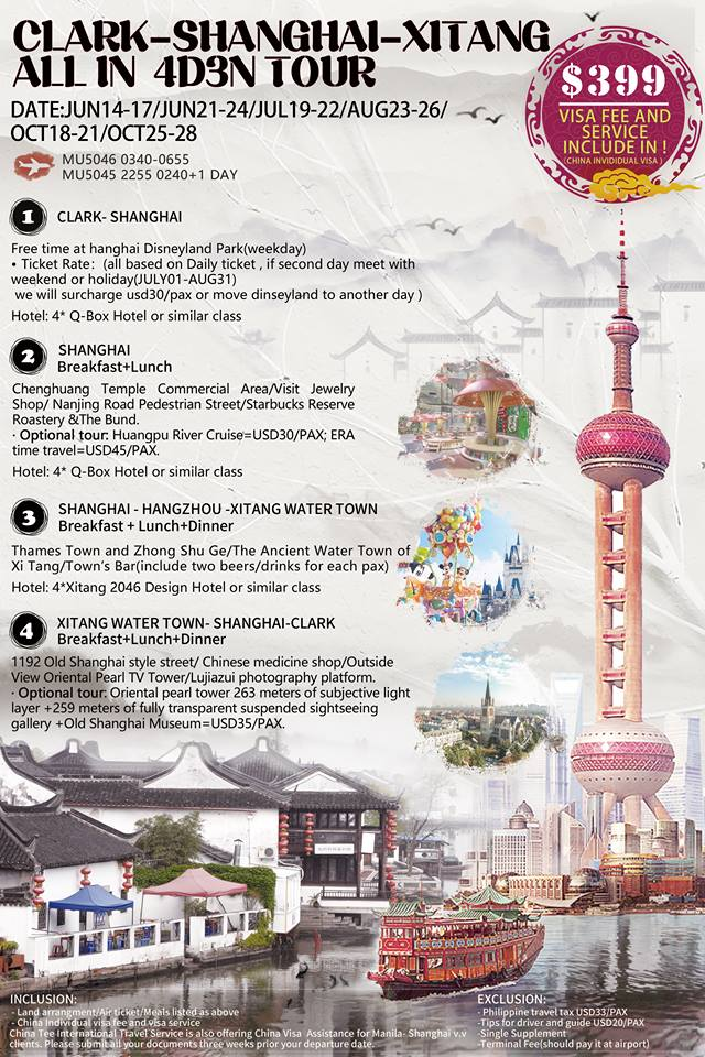 Clark-Shanghai-Xitang All-in 4D3N Tour